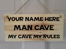 Personalised Wooden My Rules Man Cave Sign Plaque, Perfect Gift, Resin Coated.