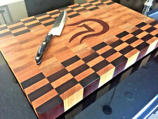 Large Personalized End Grain Cutting Board with Custom Inlay