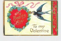 PPC POSTCARD TO MY VALENTINE SWALLOW WITH HEART FLOWERS RIBBONS EMBOSSED