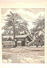 Vintage Ink On Paper Snow trees and house Daglaroglu Aram 20C Armenian Painting