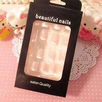 24 Pcs Smooth Artificial False Nails Tips Long Square Full Fake Nail Art CPEV