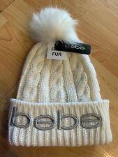 NWT BEBE WHITE POM POM winter knit ski hat cap ladies Silver Logo