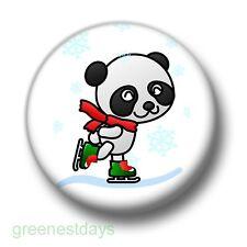 Ice Skating Panda 1 Inch / 25mm Pin Button Badge Bear Cute Cartoon Kitsch Fun