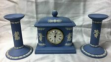 Lovely Wedgwood Blue Jasper Ware 'Dancing Hours' Mantel Clock & Candle Holders