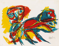 Karel Appel (Dutch, 1921–2006) Lithograph Figure with Animal 1962 Signed Framed