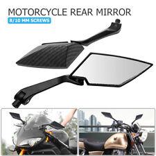 Pair 8/10mm carbon fiber Black Motorcycle Motorbike Wing Side rear view mirror