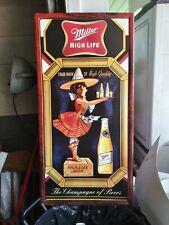 Miller High Life Metal Sign Tin Tacker Girl Moon Old Beer Crate Bottle Tray L@K