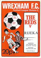 Wrexham vRijeka European Cup Winners Cup 1st round - 2nd leg 27 Sep 1978