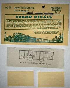 CHAMP HO DECAL - NEW YORK CENTRAL / NYC TWIN HOPPER - WHITE LETTERING - HC-91
