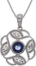14K White Gold Round Sapphire Open Pendant (Chain NOT included)