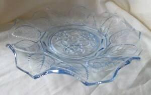 Delightful blue glass cake display plate /stand rose & leaf design decorative AF