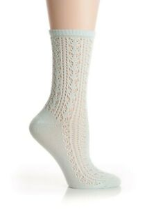 1 pair of HUE U15905 Open Crochet Sea Glass Green Socks - MSRP $8.50
