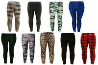 Girls Kids School Plain Leopard Tartan Camo Legging Dance Trousers Harem 7-13