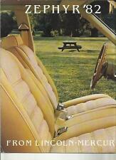 Lincoln-Mercury Zephyr USA auto oversize vendite OPUSCOLO 1982