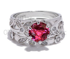 Brilliant Round Ruby Engagement Wedding Plumeria Nature Ivy Leaf Silver Ring Set