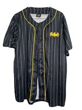 Batman button-front jersey L baseball style ComicCon pinstripe short sleeve