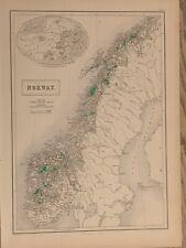 1854 NORWAY LARGE HAND COLOURED ANTIQUE MAP 165 YEARS OLD BY JOHN BARTHOLOMEW