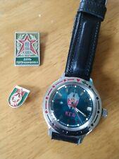 Automatic Vintage Ussr watch Vostok Amphibian Blue Kgb 31j Leather & Pins!