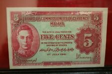 Malaya KGVI 5 Cents 1941  UNC