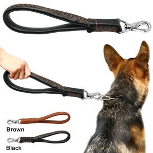 Genuine Leather Dog Short Lead Medium Large Dogs Control Leash German Shepherd