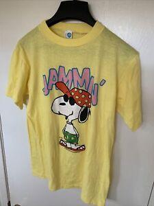 Artex Snoopy Jammin' Schulz Summer Vintage 1970's Yellow T Shirt Size L