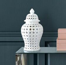 More details for 46cm white ceramic ginger jar storage home decor display vase domed lid gift