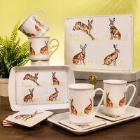 Hare Rabbit Design Lunch Bag Cork Coasters Placemats Set Melamine Serving Trays