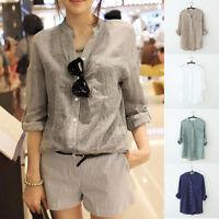 Korean Women Cotton Linen Button Down Loose Casual V-neck Shirt Tops Blouse