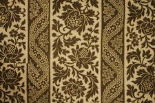 Fabric Antique Printed cotton furnishing brown floral & stripe circa 1870