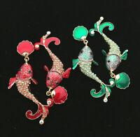 Betsey Johnson Red/Green Enamel Crystal Shell Tropical Fish Dangle Earrings