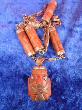 schöne,alte Halskette__mit gr.Anhänger__925 Silber__geschnitzte Halbedelsteine_!