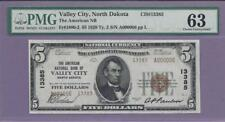 "1929 $5 Fr # 1800-2 Valley City, N.D.Ch 13385  PMG  ""SCROLL DOWN FOR SCANS"""