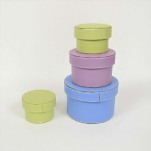 Marcel Schurman Blue Green Pink Round Leather Nesting Boxes Preowned