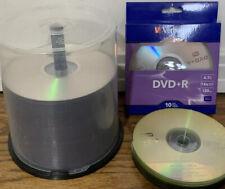 LOT OF 80+ BLANK DYNEX DVD-R, STAPLES CD-R,  VERBATIM DVD+R RECORDABLE DISCS