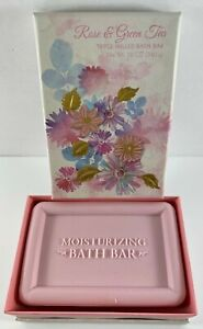 ROSE & GREEN TEA Triple Milled Bath Bar Soap Made In USA - NEW in Box