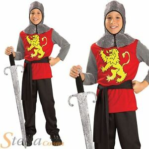Boys Medieval Lord Knight King Arthur Kids Fancy Dress Costume Outfit