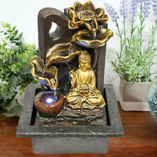 Buddha Indoor Fountain Water Feature LED Lights Polyresin Statues Home Decoratio