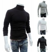 US Mens Cotton Turtle Neck Turtleneck Sweater Stretch Jumper Tops New