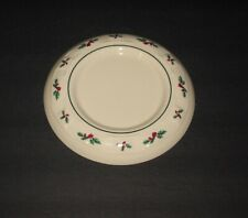 Longaberger White Woven Traditions Christmas Holly Pillar Candle Plate Vnt Usa