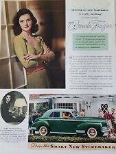 1941 Green Studebaker President Car Miss Brenda Frazier Color Original Ad