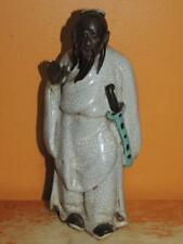 """Chinese Mud Man / Men White Robe sword 6.5"""" Ge / Guan type glaze Mudman Antique"""