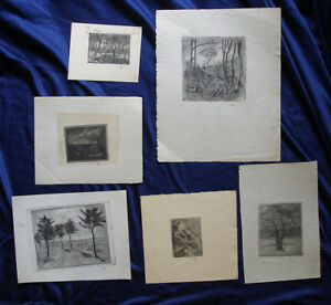 Ejnar Hansen ( American) Collection of six etchings.