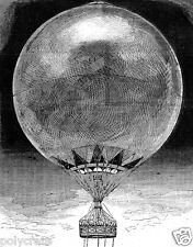 Reproduction gravure Ballon Captif montgolfière avec nacelle XIXe siècle