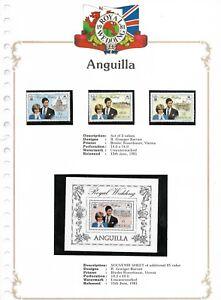 15/6/1981 SET OF 3 VALUES & SOUVENIR SHEET MINT ANGUILLA ROYAL WEDDING STAMPS