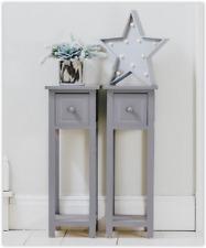 Small Side Table Hall Bedroom Furniture Nightstand Slim Living Room Table Grey