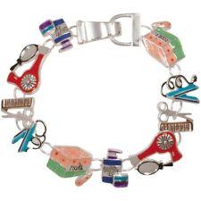 NEW Multi Color Enamel Salon Hair Dresser Stylist Themed Magnetic Clasp Bracelet