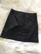 New Madewell Leather Button-front Skirt Black Sz 10 F7100