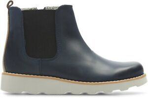 BNIB Clarks Boys Crown Halo Navy Blue Leather Air Spring Boots F/G Fitting
