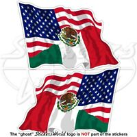 USA United States America-MEXICO American & Mexican Flying Flag 75mm x2 Stickers