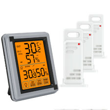 Digital LCD Thermometer Hygrometer Home Outdoor Temperature Humidity(3 Sensors)